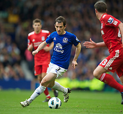 LIVERPOOL, ENGLAND - Sunday, October 17, 2010: Everton's Leighton Baines in action against Liverpool during the 214th Merseyside Derby match at Goodison Park. (Photo by David Rawcliffe/Propaganda)