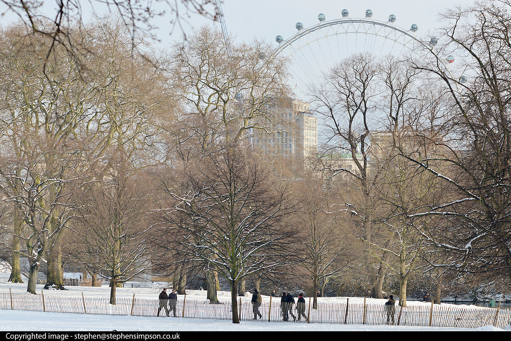 © Licensed to London News Pictures. 21/01/2013. Westminster, UK The London Eye seen in the distance through snow covered trees. Snow in the Royal Park, St James Park, in Central London today 21 January 2013. Photo credit : Stephen Simpson/LNP