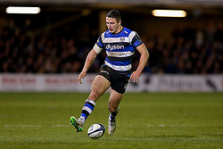 Bath Inside Centre Sam Burgess, making his first start for the Club, chips on - Photo mandatory by-line: Rogan Thomson/JMP - 07966 386802 - 12/12/2014 - SPORT - RUGBY UNION - Bath, England - The Recreation Ground - Bath Rugby v Montpellier Herault Rugby - European Rugby Champions Cup Pool 4.