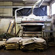 Ponte a Egola, Italy. Gi Elle Emme tannery..Leather shaving machine.