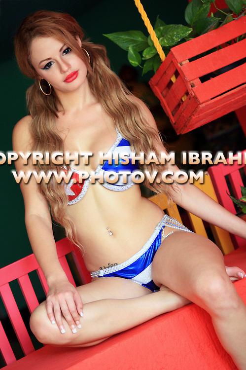 Sexy Latin Young Woman in a Cuban flag bikini, Cancun - Mexico
