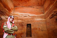 Jordanian policeman stands guard inside the Treasury at the historical archaeological city of Petra. (Photo by Alan Lessig/Defense News)