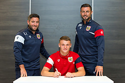 Bristol City Head Coach Lee Johnson and Assistant Head Coach Jamie McAllister look on as Cameron Pring signs a new contract with Bristol City Under 23s ahead of the 2017/18 Season - Rogan/JMP - 11/07/2017 - Ashton Gate Stadium - Bristol, England.
