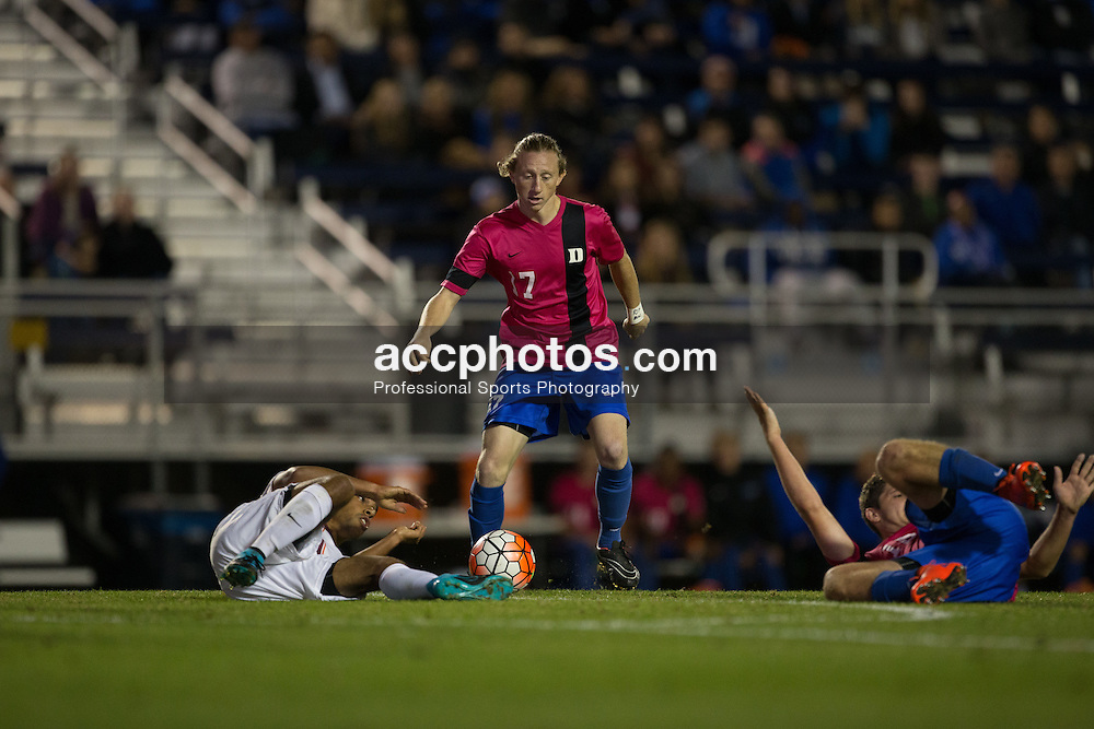 2015 October 30: Bryson Asher #17 of the Duke Blue Devils during a 2-1 win over the Virginia Tech Hokies at Koskinen Stadium in Durham, NC.