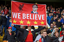 LONDON, ENGLAND - Saturday, October 17, 2015: Liverpool supporters banner 'We Believe' before the Premier League match against Tottenham Hotspur at White Hart Lane. (Pic by David Rawcliffe/Kloppaganda)