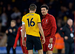 WOLVERHAMPTON, ENGLAND - Monday, January 7, 2019: Wolverhampton Wanderers' captain Conor Coady (L) speaks with Liverpool's Curtis Jones after the FA Cup 3rd Round match between Wolverhampton Wanderers FC and Liverpool FC at Molineux Stadium. (Pic by David Rawcliffe/Propaganda)