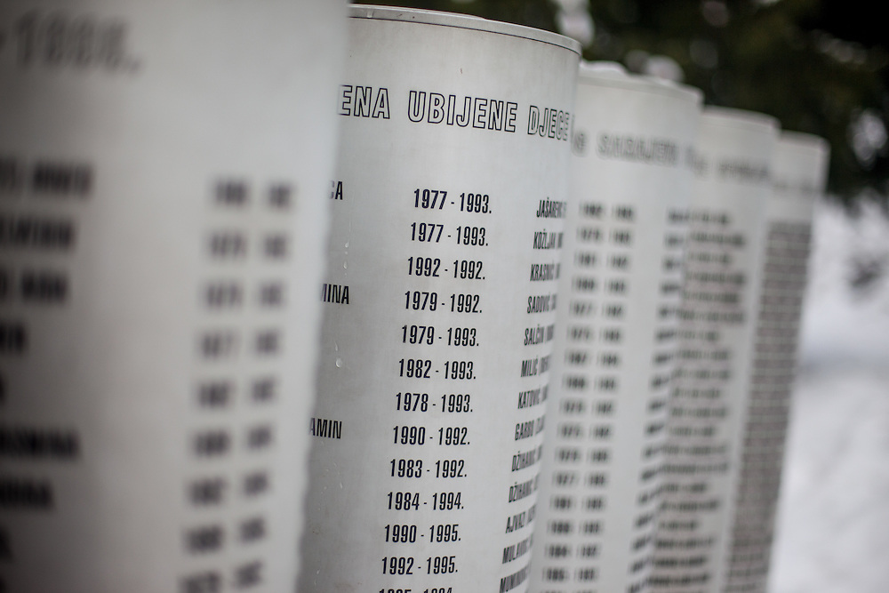 The monument for children killed during the siege of Sarajevo in-between 1992 and 1995. 521 names are written on the memorial.