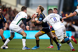 Tom Howe of Worcester Warriors is tackled by Stephen Myler of London Irish and Albert Tuisue of London Irish - Mandatory by-line: Robbie Stephenson/JMP - 28/12/2019 - RUGBY - Sixways Stadium - Worcester, England - Worcester Warriors v London Irish - Gallagher Premiership Rugby