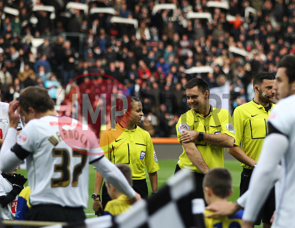 Referee Eddie Iderton (R) and assistant referee Lisa Rashid (L) before the match - Mandatory byline: Jack Phillips / JMP - 07966386802 - 21/11/2015 - FOOTBALL - The iPro Stadium - Derby, Derbyshire - Derby County v Cardiff City - Sky Bet Championship