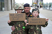 Father and sons during the Soldier F Protest at Media City, Salford, United Kingdom on 18 May 2019.