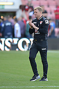 Bournemouth Manager Eddie Howe applauds fans at end of  the Barclays Premier League match between Bournemouth and Sunderland at the Goldsands Stadium, Bournemouth, England on 19 September 2015. Photo by Mark Davies.
