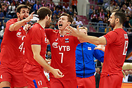 Poland, Krakow - 2017 September 03: (L-R) Artem Volvich and Dmitrii Volkov and Maxim Mikhailov and Alexander Butko all from Russia celebrate victory in the final match between Germany and Russia during Lotto Eurovolleyball Poland 2017 - European Championships in volleyball at Tauron Arena on September 03, 2017 in Krakow, Poland.<br /> <br /> Mandatory credit:<br /> Photo by © Adam Nurkiewicz<br /> <br /> Adam Nurkiewicz declares that he has no rights to the image of people at the photographs of his authorship.<br /> <br /> Picture also available in RAW (NEF) or TIFF format on special request.<br /> <br /> Any editorial, commercial or promotional use requires written permission from the author of image.