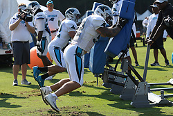 July 28, 2018 - Spartanburg, SC, U.S. - SPARTANBURG, SC - JULY 28: Colin Jones (42) safety Carolina Panthers and Jared Norris (52) linebacker Carolina Panthers hit some tackling dummies during the third day of the Carolina Panthers training camp practice at Wofford College July 28, 2018 in Spartanburg, S.C.  (Photo by John Byrum/Icon Sportswire) (Credit Image: © John Byrum/Icon SMI via ZUMA Press)