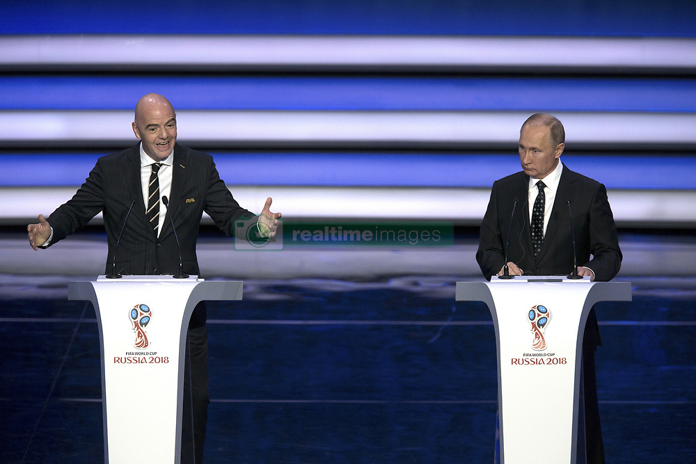 MOSCOW, Dec. 1, 2017  FIFA president Gianni Infantino (L) gives a speech as Russian President Vladimir Putin listens during the Final Draw of the FIFA World Cup 2018 at the Kremlin Palace in Moscow, capital of Russia, Dec. 1, 2017. (Credit Image: © Bai Xueqi/Xinhua via ZUMA Wire)