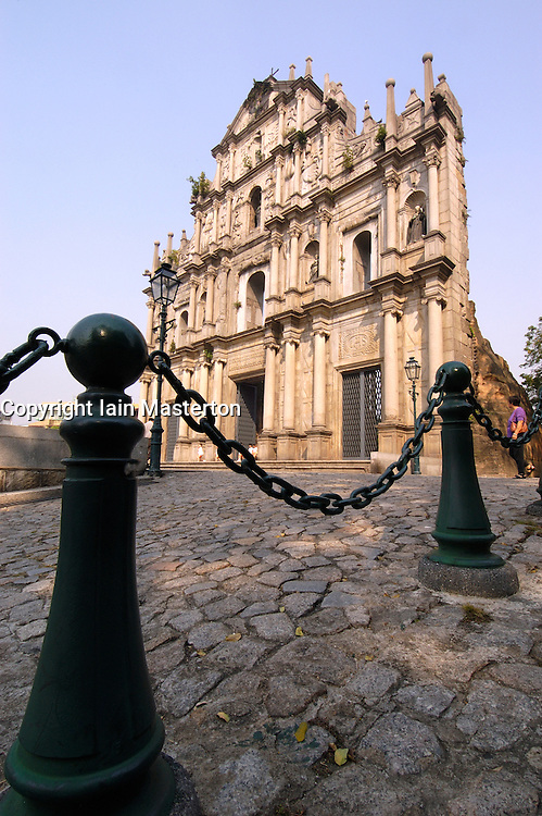 Famous old facade of Saint Pauls church in historic city of Macau China
