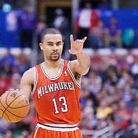 24 March 2014: Milwaukee Bucks guard Ramon Sessions (13) sets the offense during the Los Angeles Clippers 106-98 victory over the Milwaukee Bucks at the Staples Center, Los Angeles, California, USA.