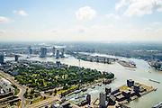 Nederland, Zuid-Holland, Rotterdam, 10-06-2015; de wijk Scheepvaartkwartier of Het Nieuwe Werk. Naast de Parkhaven Het Park met de Euromast. Mullerpier in de voorgrond. Kop van Zuid met Wilhelminakade en Katendrecht in het verschiet.<br /> Rotterdam city park with the symbol for Rotterdam, the Euromast.<br /> luchtfoto (toeslag op standard tarieven);<br /> aerial photo (additional fee required);<br /> copyright foto/photo Siebe Swart