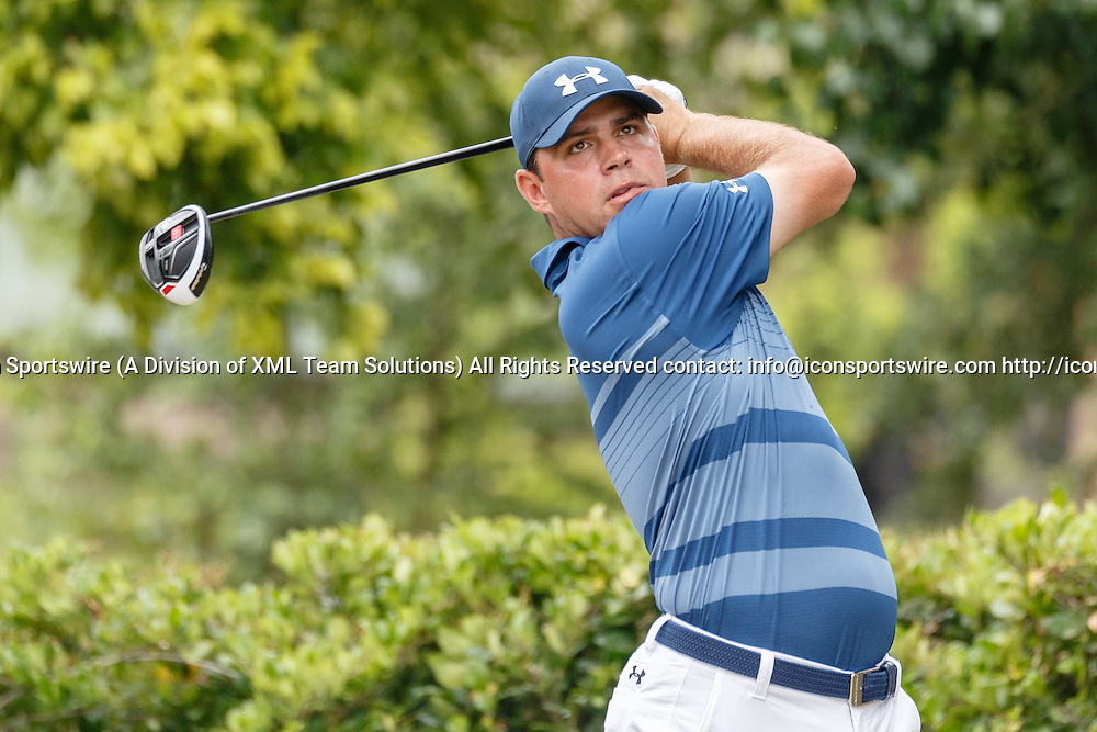 22 MAY 2016:  Gary Woodland tees off on #1 to begin his Final Round of the AT&T Byron Nelson Championship at TPC Four Seasons Resort in Irving, TX.  (Photo by Andrew Dieb/Icon Sportswire)