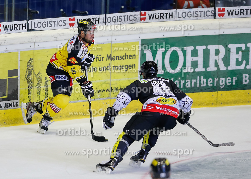 19.09.2014, Messestadion, Dornbirn, AUT, EBEL, Dornbirner EC vs UPC Vienna Capitals, 3.Runde, im Bild Rafael Rotter, (UPC Vienna Capitals #06) und Adam Miller, (Dornbirner EC, #40)// during the Erste Bank Icehockey League 3rd round match between Dornbirner EC and UPC Vienna Capitals at the Messestadion in Dornbirn, Austria on 2014/09/19, EXPA Pictures © 2014, PhotoCredit: EXPA/ Peter Rinderer