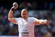 Great Britain, London - 2017 August 05: Jakub Szyszkowski (Slask Wroclaw) from Poland competes in men's shot put qualification during IAAF World Championships London 2017 Day 2 at London Stadium on August 05, 2017 in London, Great Britain.<br /> <br /> Mandatory credit:<br /> Photo by © Adam Nurkiewicz<br /> <br /> Adam Nurkiewicz declares that he has no rights to the image of people at the photographs of his authorship.<br /> <br /> Picture also available in RAW (NEF) or TIFF format on special request.<br /> <br /> Any editorial, commercial or promotional use requires written permission from the author of image.
