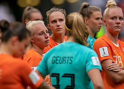 07-07-2019 FRA: Final USA - Netherlands, Lyon<br /> FIFA Women's World Cup France final match between United States of America and Netherlands at Parc Olympique Lyonnais. USA won 2-0 / Kika van Es #5 of the Netherlands, Vivianne Miedema #9 of the Netherlands, Danique Kerkdijk #18 of the Netherlands