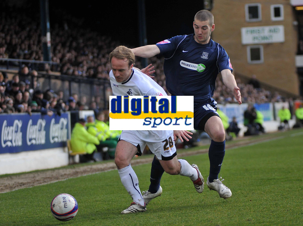 Photo: Tony Oudot/Richard Lane Photography. <br /> Southend United v Swansea City. Coca-Cola League One. 21/03/2008. <br /> Thomas Butler of Swansea goes past Charlie Mulgrew of Southend