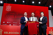 Luis Rubiales, President of the Spanish Football Federation RFEF, Luis Enrique, head coach of Spain Team, and Jose Francisco Molina, Sports Director of Football Spanish Federation RFEF during the presentation of Luis Enrique as new head coach of the Spanish football team on November 27, 2019 at Ciudad del Futbol in Las Rozas de Madrid, Spain - Photo Oscar J Barroso / Spain ProSportsImages / DPPI / ProSportsImages / DPPI