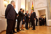 07 JAN 2004, BERLIN/GERMANY:<br /> Otto Schily, SPD, Bundesinnenminister, Joschka fischer, B90/Gruene, Bundesaussenminister, Gerhard Schroeder, SPD, Bundeskanzler, Christina Rau , Johannes Rau, Bundespraesident, und Wolfgang Clement, SPD, Bundeswirtschaftsminister, (v.L.n.R.), waehrend des Deefiles, Neujahrsempfang des Bundespraaesidenten, Schloss Bellevue<br /> IMAGE: 20040107-01-034<br /> KEYWORDS: Empfang, Neujahr, Bundespr&auml;sident, Gattin, Praesidentengattin, Pr&auml;sidentengattin, Gerhard Schr&ouml;der