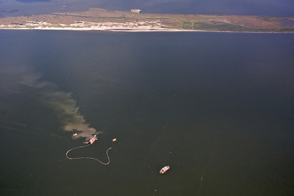 Dredging at Grand Terre Islands, Louisiana, USA