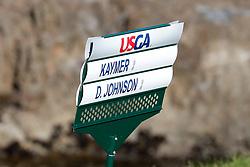 June 11, 2019 - Pebble Beach, CA, U.S. - PEBBLE BEACH, CA - JUNE 11:  A detailed close up sign for PGA golfers Martin Kaymer and Dustin Johnson during a practice round for the 2019 US Open on June 11, 2019, at Pebble Beach Golf Links in Pebble Beach, CA. (Photo by Brian Spurlock/Icon Sportswire) (Credit Image: © Brian Spurlock/Icon SMI via ZUMA Press)
