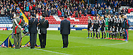 Brentford Players line up for the minutes silence prior to the Sky Bet Championship match between Blackburn Rovers and Brentford at Ewood Park, Blackburn<br /> Picture by Mark D Fuller/Focus Images Ltd +44 7774 216216<br /> 07/11/2015