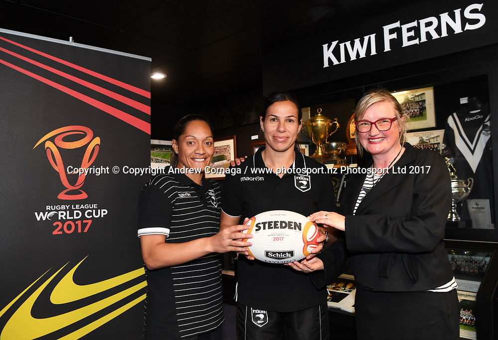 Kiwi Ferns captain Sarina Fiso (L) and teammate Sharlene Atai with Rugby League World Cup 2017 General Manager of New Zealand Andrea Nelson (R) promoting the Women's Rugby League World Cup. Auckland, New Zealand. Wednesday 2 August 2017. © COPYRIGHT PHOTO: ANDREW CORNAGA / WWW.PHOTOSPORT.NZ