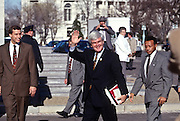 House Speaker Newt Gingrich waves after being re-elected Speaker January 7, 1997 in Washington, DC.