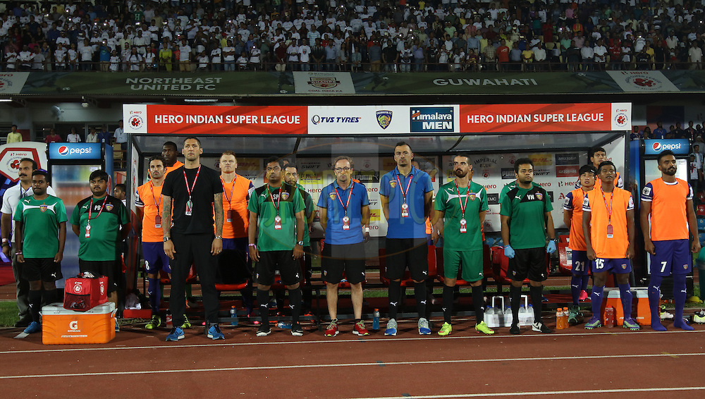 CFC dugout during national anthem during match 18 of the Indian Super League (ISL) season 3 between NorthEast United FC and Chennaiyin FC held at the Indira Gandhi Athletic Stadium in Guwahati, India on the 20th October 2016.<br /> <br /> Photo by Saikat Das / ISL/ SPORTZPICS