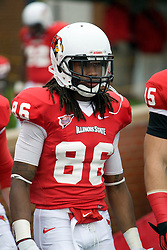 13 October 2012: Anthony Boddy during an NCAA football game between the Youngstown State Penguins and the Illinois State Redbirds.  The Redbirds won the game by a score of 35-28 at Hancock Stadium in Normal Illinois