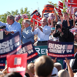 GeorgeBushRally..President George W. Bush address the crowd at Rancho San Rafael Park, in Reno, Nev., during a rally, Oct. 13, 2006 before the 2004 Presidential election...Photo by David Calvert