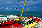 colorful fishing boats on beach<br /> Providenciales or Provo<br /> Turks & Caicos Islands<br /> West Indies ( Western Atlantic Ocean )