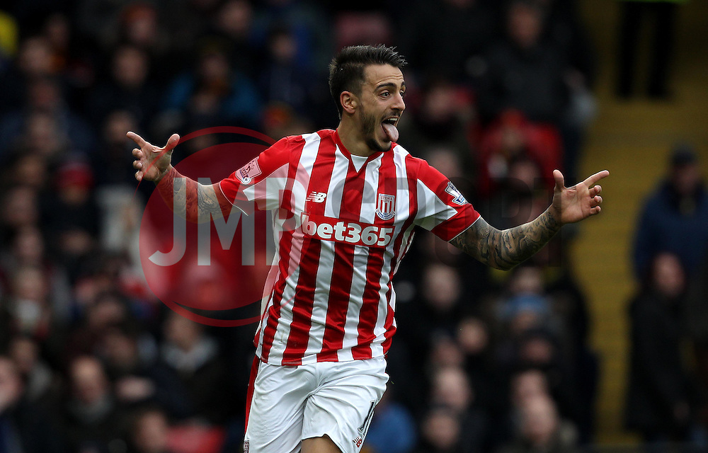 Joselu of Stoke City celebrates scoring his sides second goal - Mandatory byline: Robbie Stephenson/JMP - 19/03/2016 - FOOTBALL - Vicarage Road - Watford, England - Crystal Palace v Leicester City - Barclays Premier League