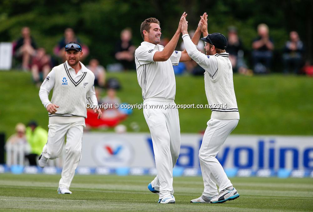Tim Southee celebrates the wicket of Kaushi Silva. Day 3, ANZ Boxing Day Cricket Test, New Zealand Black Caps v Sri Lanka, 28 December 2014, Hagley Oval, Christchurch, New Zealand. Photo: John Cowpland / www.photosport.co.nz