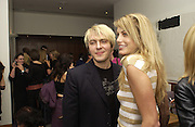 Nick Rhodes and Meredith Rhodes. party hosted by Harpers and Queen for Christian Louboutin 10 Anniversary. Met Bar. 16 October 2001. © Copyright Photograph by Dafydd Jones 66 Stockwell Park Rd. London SW9 0DA Tel 020 7733 0108 www.dafjones.com