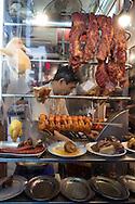 Roast meat seller in Sai Ying Pun, Hong Kong