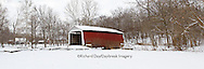 63904-03310 Panoramic of Beeson Covered Bridge at Billie Creek Village in winter, Rockville, IN