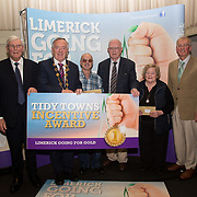 10.10. 2017. <br /> Mayor of the City and County of Limerick Cllr Stephen Keary and Noel Earlie, JP McManus Charitable Foundation presented the Limerick Going for Gold Tidy Towns groups  The Overall most improved in each Municipal District was awarded €1,000 each and they were Abbeyfeale, Glenroe, Gouldavoher and Rathkeale.                      <br /> <br /> Limerick Going for Gold, which is sponsored by the JP McManus Charitable Foundation, has a total prize pool of over €75,000.  It is organised by Limerick City and County Council and supported by Limerick's Live 95FM, The Limerick Leader and The Limerick Chronicle, The Limerick Post, Parkway Shopping Centre, I Love Limerick and Southern Marketing Media & Design. Picture: Alan Place
