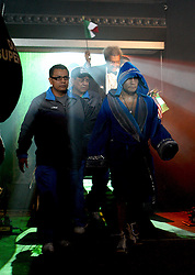 Marco Antonio Barrera enters the arena before the WBA and WBO Inter-Continental Lightweight title fight between Amir Khan and Marc Antonio Barrera at the MEN Arena on March 14, 2009 in Manchester, England.