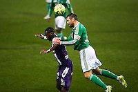 Loic Perrin / Tongo Doumbia - 28.02.2015 - Toulouse / Saint Etienne - 27eme journee de Ligue 1 -<br />