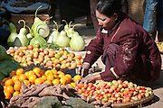 preparing fruit in morning market, Burma