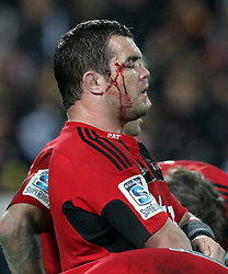 Crusaders' Corey Flynn with a facial injury reflects on defeat by the Chiefs in the semi-final Super Rugby match, Waikato Stadium, Hamilton, New Zealand, Friday, July 27, 2012.  Credit:SNPA / David Rowland