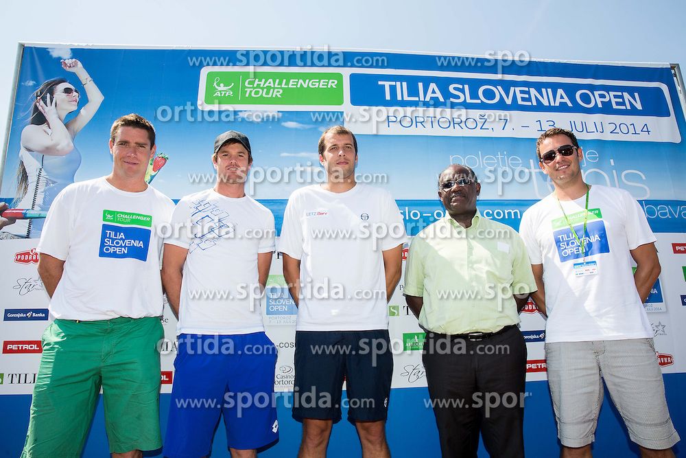 Gregor Krusic, Blaz Kavcic of Slovenia and Gilles Muller of Luxembourg, Peter Bossman, mayor of Piran and Denis Topcic during Day 1 of ATP Challenger Tilia Slovenia Open 2014 on July 7, 2014 in  Tennis stadium SRC Marina, Portoroz / Portorose, Slovenia. Photo by Vid Ponikvar / Sportida