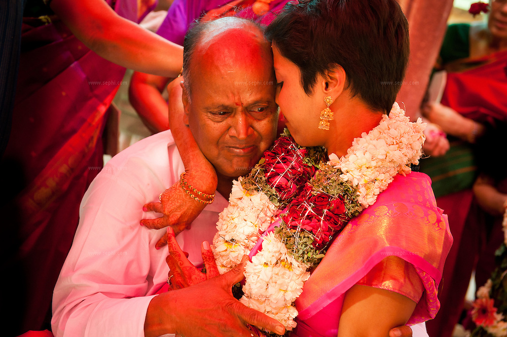 Bride and father during a south Indian Tamil Brahmin wedding ceremony