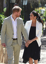 The Duke and Duchess of Sussex during a visit to a social entrepreneurs event and market at the Andalusian Gardens in Rabat on the third day of their tour of Morocco.
